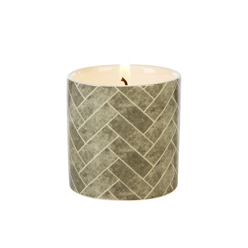 Fired Earth Ceramic Candle Small -Green Tea & Vetivert