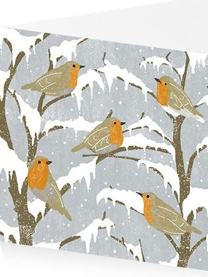 Art Press Christmas Card Pack/5 -Round of Robins