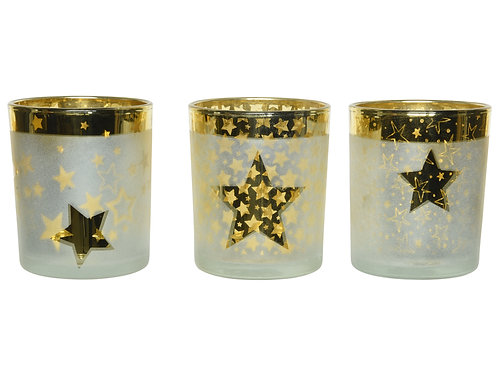 Glass Tealights with laser stars