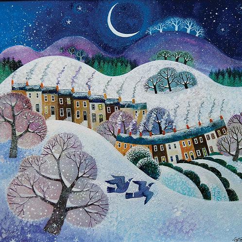Dry Red Christmas Card - Snowfall -Pack Set/5