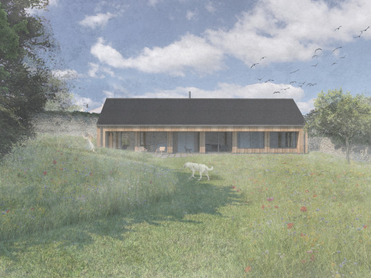 Planning submitted for oak framed house in a walled garden
