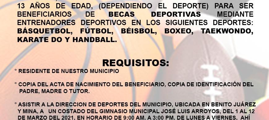 PRESIDENCIA MUNICIPAL DE NUEVO CASAS GRANDES LANZA CONVOCATORIA PARA BECAS DEPORTIVAS