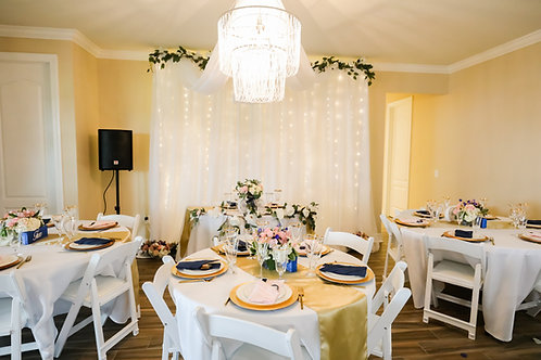 Adjustable Backdrop with Lights and Accent Flowers