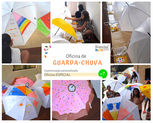 oficina infantil de guarda chuva para crianças