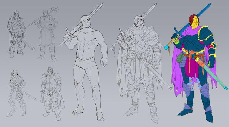 Dark fantasy knight design process