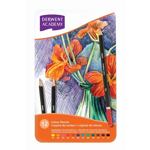 Derwent Academy Colour Pencils -Tin Set of 12