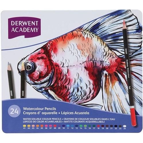 Derwent Academy Watercolour Pencils -Tin Set of 24