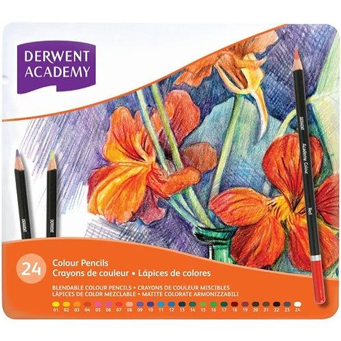 Derwent Academy Colour Pencils - Tin Set of 24