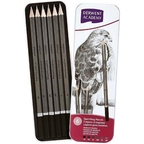 Derwent Academy Sketching Pencils - Set of 6