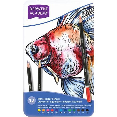 Derwent Academy Watercolour Pencils - Tin Set of 12