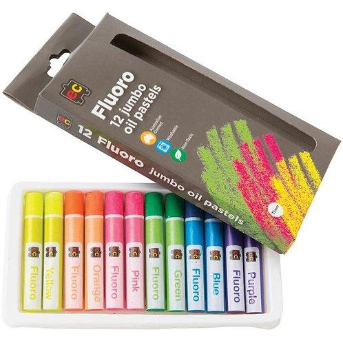 EC Jumbo Fluorescent Oil Pastels - Pack of 12