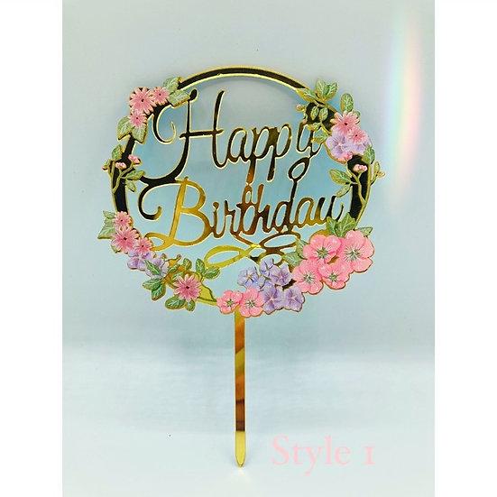 Floral Birthday Cake Topper