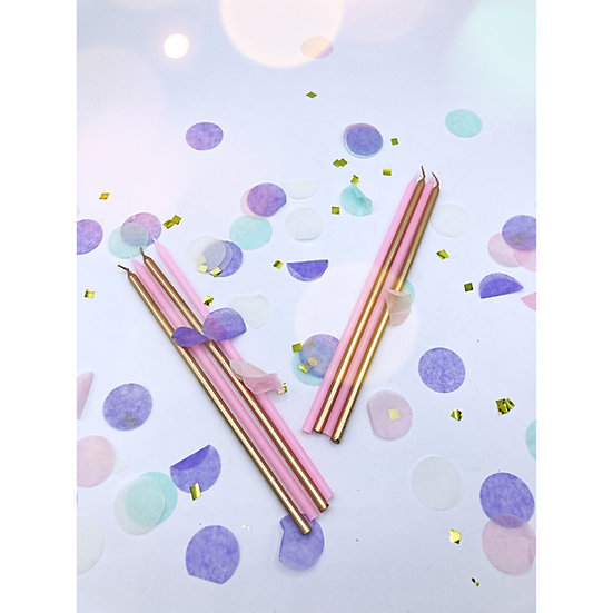 Mixed Gold & Pink Extra Tall Candles