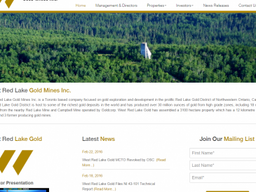 Welcome to our New Website Sponsor – West Red Lake Gold Mines