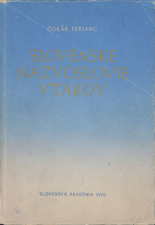 Ferianc Oskár, Slovenské názvoslovie vtákov