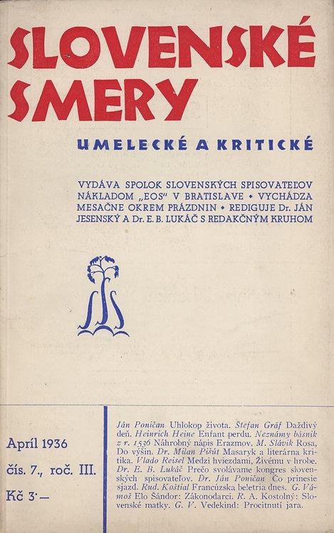 Slovenské smery umelecké a kritické - apríl 1936, čís. 7., roč. III.