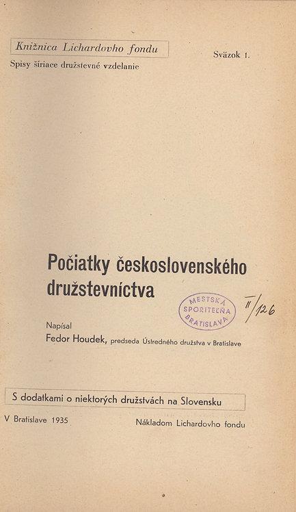 Houdek Fedor, Počiatky československého družstevníctva