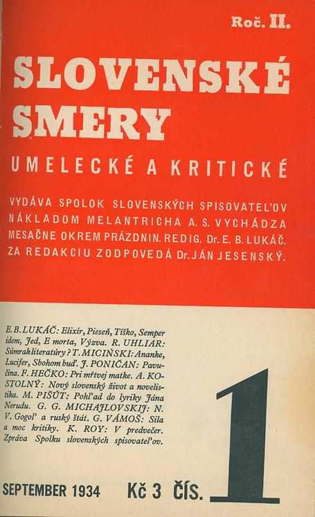 Slovenské smery umelecké a kritické - 1933 roč. I - č. 1, 1934 roč. II - č. 1