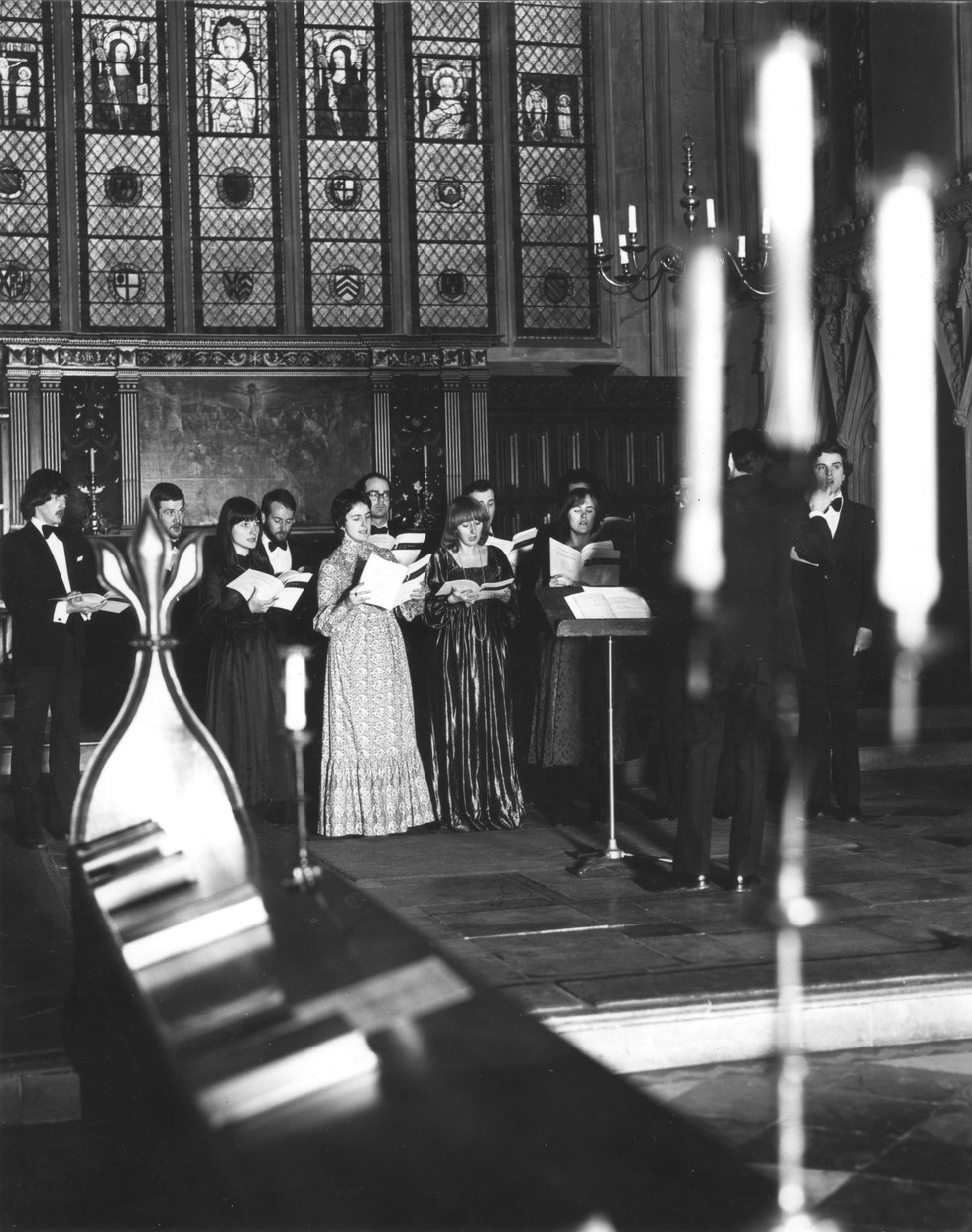 The Tallis Scholars in Merton College Chapel, Oxford. 1st March 1980.