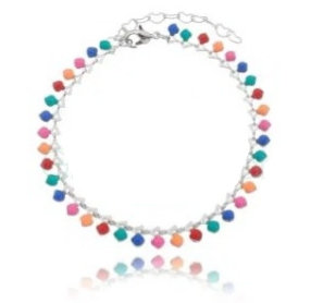 Anklet with Colored Stones x 24cm