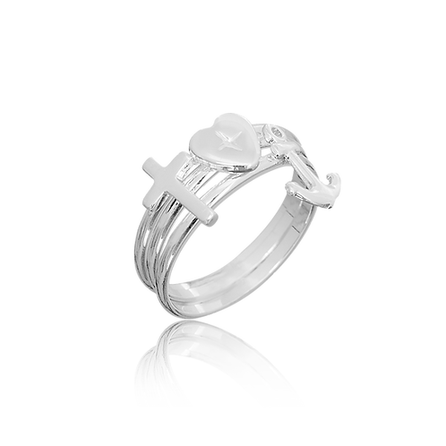 Cross, Anchor and Heart Ring (925 Silver)