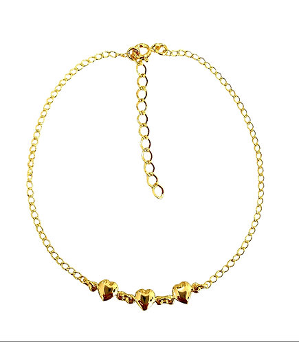 Anklets 24cm with 3 hearts
