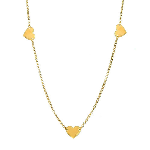 Necklace with hearts x 70cm
