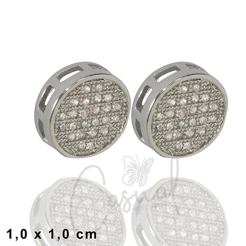 Round earring with microzirconias
