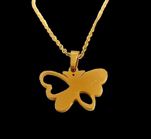 Corrente 45 cm com borboleta com 2 asas vazadas em aço inox
