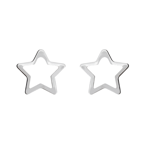 Hollow star earring with 5 points (925 Silver)