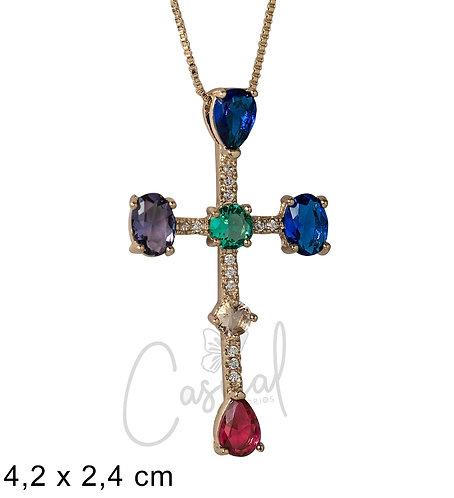 Necklace Cross with stones x 45cm
