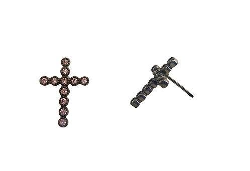 Brinco cruz com zirconias (ródio negro)