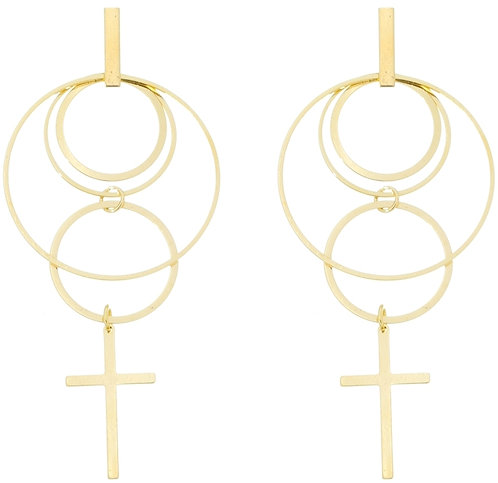 Earring with circles and cross
