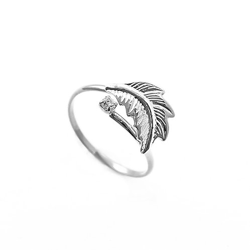 Ring with Leaf and Stone 2mm (925 Silver)