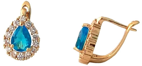 Hook earring with blue stone