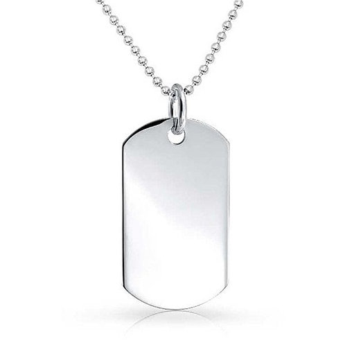 Necklace with Oval Stainless Steel Pendant