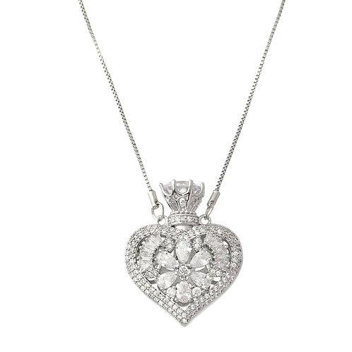 Gargantilha Perfumeiro Coração com pedras x 45cm