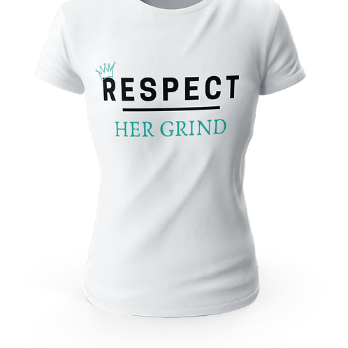 Short-Sleeve Unisex T-Shirt WHITE (RESPECT HER GRIND WITH BLUE)