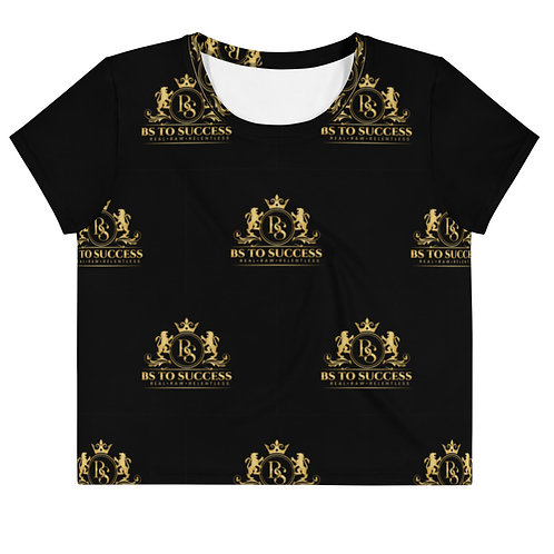 All-Over Print Crop Tee BLACK BS TO SUCCESS LOGO