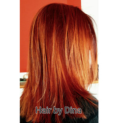 Fire engine red hair with hi-lites