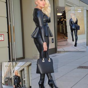 Schwarzes Leder ist cool und elegant und ich bin es auch.
