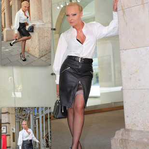 Stilvoll   und klassisch mit schwarzen Lederrock