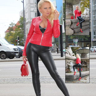Red and black leather