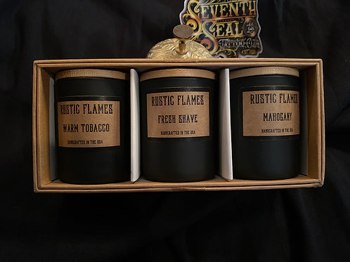Rustic Flames - Scented Candle Gift Set (Pack of 3-4oz Candles)