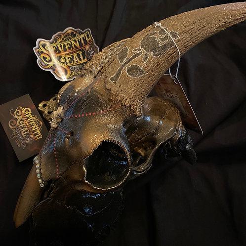 Hand Painted goat skull