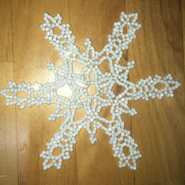 """Snowflake Frosting Glass Beads, 4"""" $18.00"""