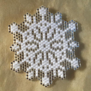 """Snow crystal 5, 615 Delica Glass Beads, 1 3/4""""   $20.00"""