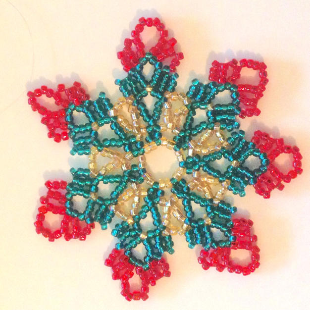 Lace Ornament Gold/Red/Green