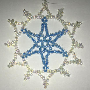 """Blue in white, Glass Beads, 2"""" $8.00"""