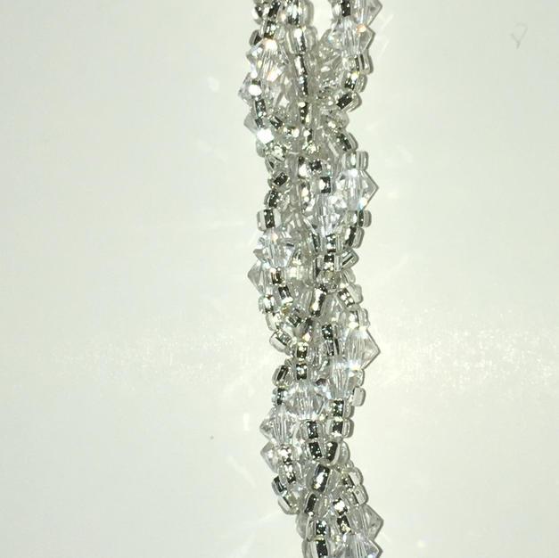 "Ice Crystal Glass Beads, Swarovski Crystals, 5 1/2"" $18.00"